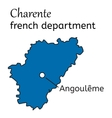 Charente french department map vector image vector image
