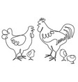 cock hen and chickens one line drawing design vector image