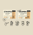 coffee package with text and line icons paper vector image