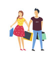 couple on shopping with bags full of purchases vector image