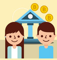 customer man and woman bank bitcoin blockchain vector image