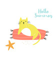 cute hand drawn cat on a beach character design vector image vector image