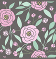 dark seamless pattern with pink peonies vector image