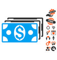 dollar banknotes icon with dating bonus vector image
