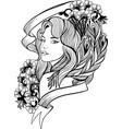 doodle woman portrait vector image vector image