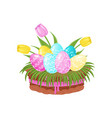 easter eggs with ornament tulip flowers and green vector image vector image