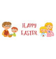 family happy easter banner vector image