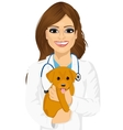female veterinarian hugging cute little dog vector image