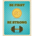 Fitness strength exercise motivation poster vector image vector image