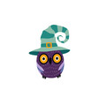 flat halloween owl in witch hat vector image