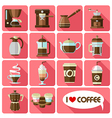 flat icons with long shadow of coffee vector image vector image