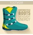 Flat motorcycle boots shoes background concept vector image