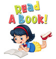 font design for word read a book with girl reading vector image
