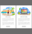freelance and distant work as modern jobs promo vector image vector image