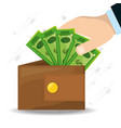 hands depositing a lot of bills in the wallet vector image vector image