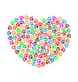 heart of colorful paw prints concept vector image vector image