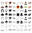 hippodrome and horse set icons in cartoon style vector image vector image