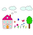 house garden tree flowers butterflies clouds vector image