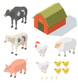 Isometric Farm Animals vector image