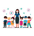 kids with teacher with masks pedagogue vector image vector image