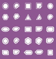 Label icons on violet background vector image