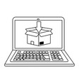 laptop showing box in black and white vector image vector image