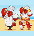 lobster mascot for seafood restaurant vector image vector image