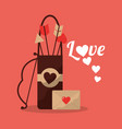 love case bow arrow and message letter romance vector image vector image