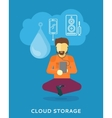 Man Uses Cloud Storage on his Tablet vector image