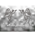 Merry Christmas silver background with angels vector image vector image