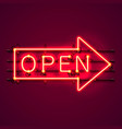 neon sign with text open arrow vector image vector image