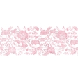 Pink textile birds and flowers horizontal border vector image