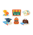 school icons set back to school design elements vector image