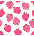 seamless pattern with hand drawn strawberry flavor vector image vector image