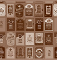 seamless pattern with various coffee labels vector image vector image