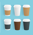 set of disposable coffee cups realistic vector image vector image