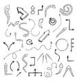 set of doodle arrows vector image