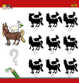 shadow game activity with farm animals vector image vector image