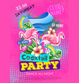 summer cocktail party disco poster in zine style vector image vector image