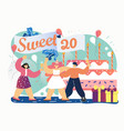 sweet 20 birthday party flat style design vector image
