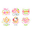 sweet store logo templates set candy shop bright vector image vector image