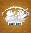two bears in friendly conversation over a beer vector image vector image