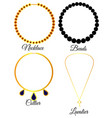 types of necklaces vector image vector image