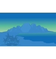 View beach and highlands with blue background vector image