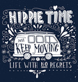 vintage hippie time print with a mini van vector image vector image