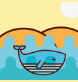 whale sea life cartoon vector image vector image