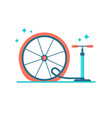 wheel repair pump the tyre flat bicycle tyre vector image vector image