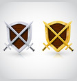 wooden shield with swords vector image vector image