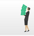 businesswoman with a stack of business documents vector image