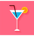 Flat Cocktail with Orange Slice and Tubule vector image